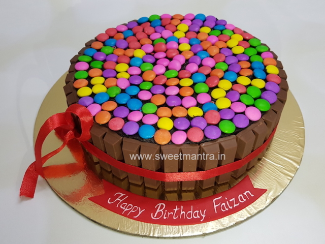 Homemade, eggless Kitkat and Gems cake in Pune