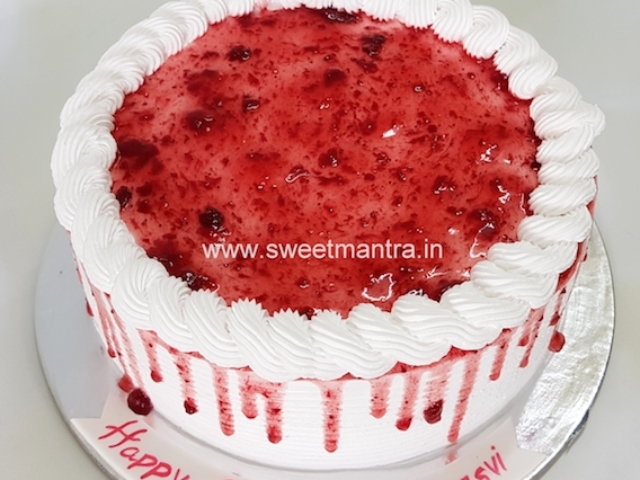 Homemade, eggless Strawberry fresh cream cake in Pune