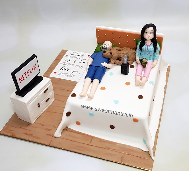 Neat and clean Bed theme customized 3D cake for a loving husband and pet dog in Pune