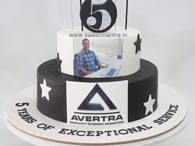 Customized 2 tier cake for celebration of employee's 5 year service in company in Pune