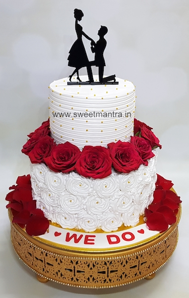 Customized 2 tier fresh cream cake with roses for Engagement ceremony in Pune