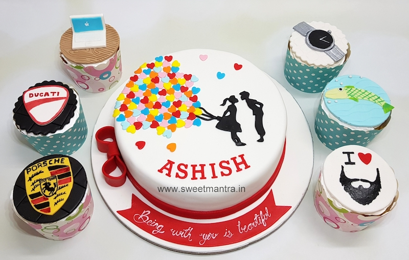 Love theme customized cake n cupcakes for fiance's birthday in Pune