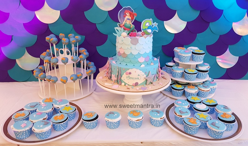 Mermaid, Sea theme customized Dessert Table with cake, cupcakes n cakepops for girls birthday in Pune