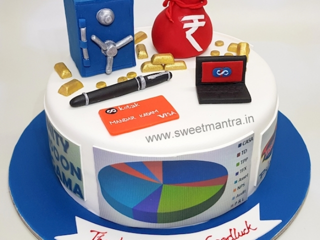 Customized cake for a Kotak Mahindra bank branch manager's farewell in Pune