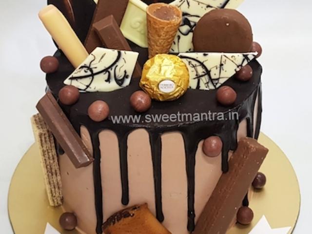 Homemade, eggless Chocolate Overload Drip cake in Pune