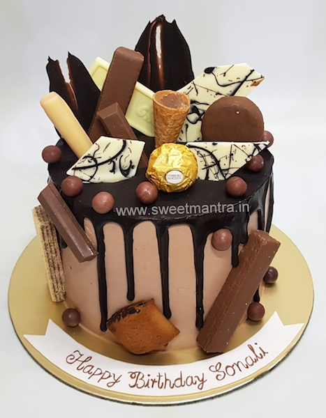 Homemade, eggless Chocolate Overload Drip cake in Pune