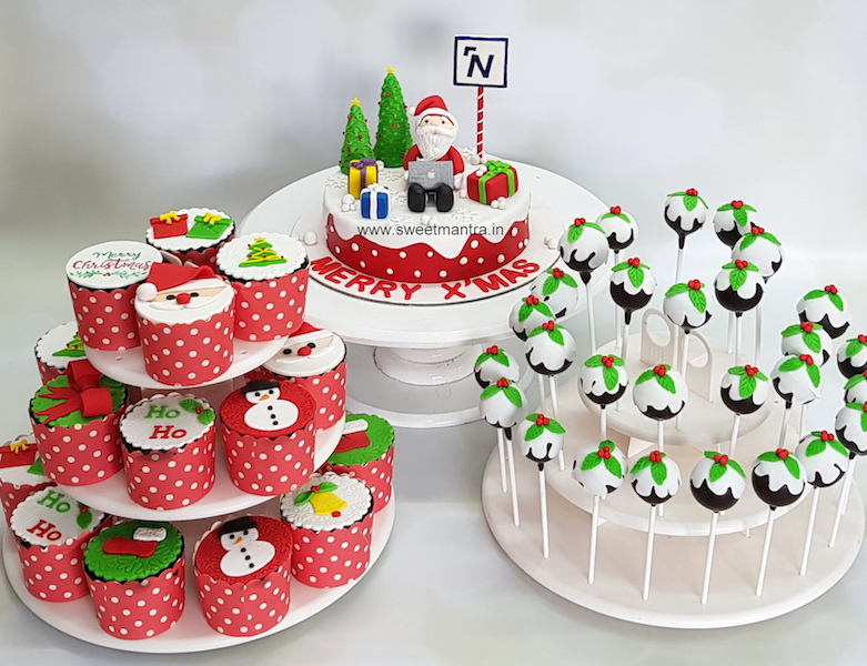 Christmas theme dessert table for corporate office celebrations in Pune