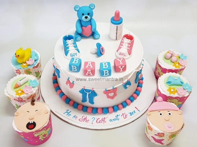 Baby Shower theme customised cake n cupcakes in Pune