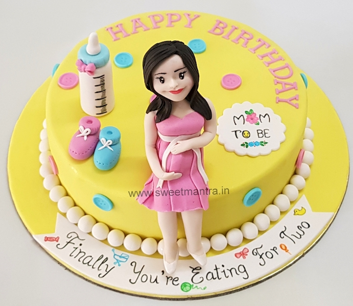 Mom to be theme customised cake for pregnant ladys birthday in Pune