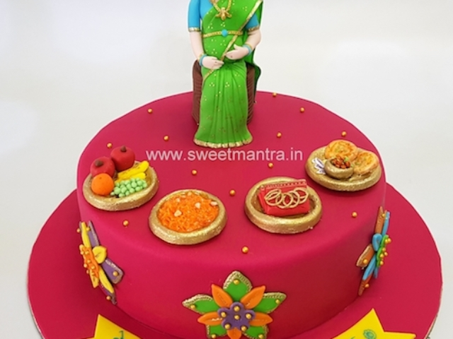 Indian traditional Godh Bharai theme customised cake for baby shower in Pune