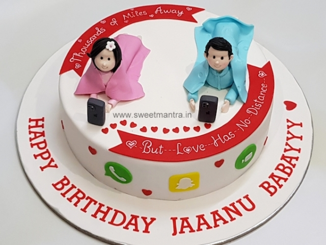 Long distance love theme birthday cake from husband in US for wife in Pune