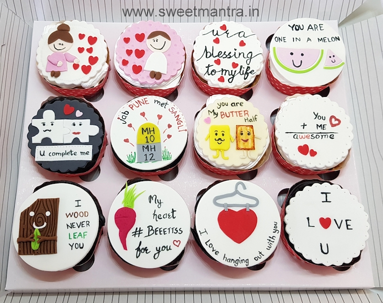 Love theme customised cupcakes in Pune
