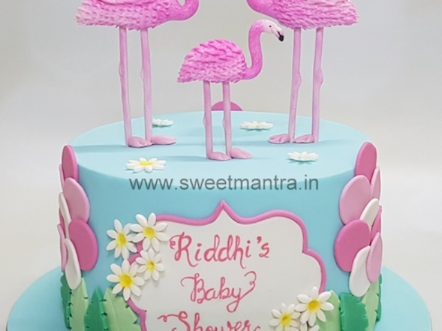 Flamingos theme baby shower cake in Pune