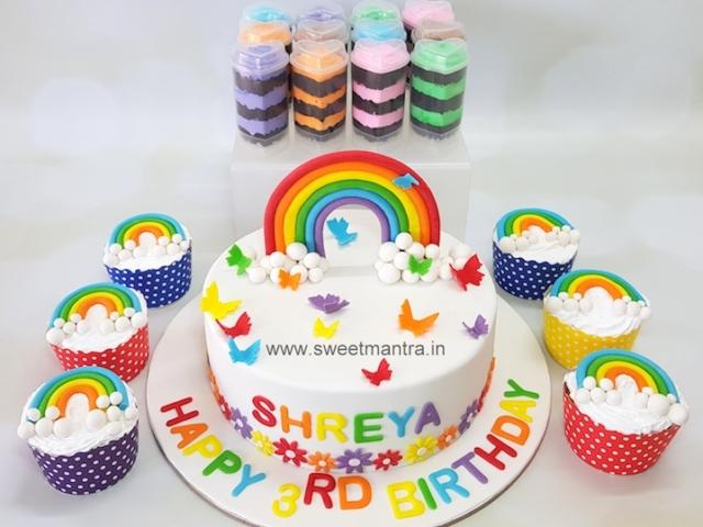 Rainbow theme dessert table for kids birthday in Pune